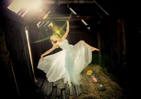 Dancer in ghost town abandoned building photo workshop Oregon